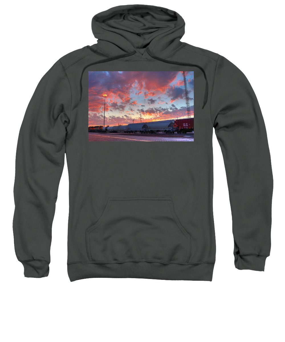 Train Sweatshirt featuring the photograph Train Setting by David Ross