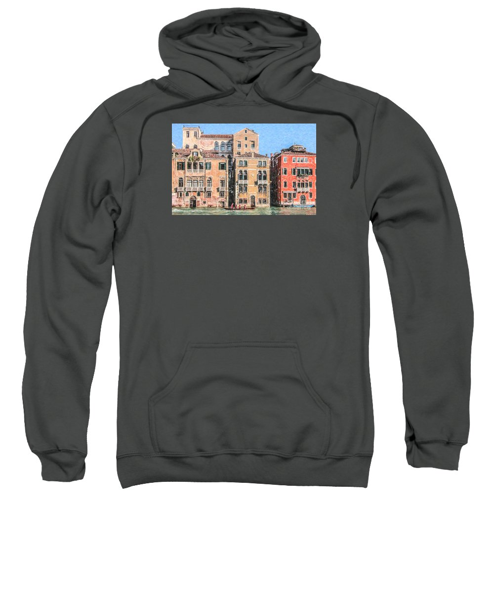 Grand Canal Sweatshirt featuring the digital art Training On The Grand Canal by Liz Leyden