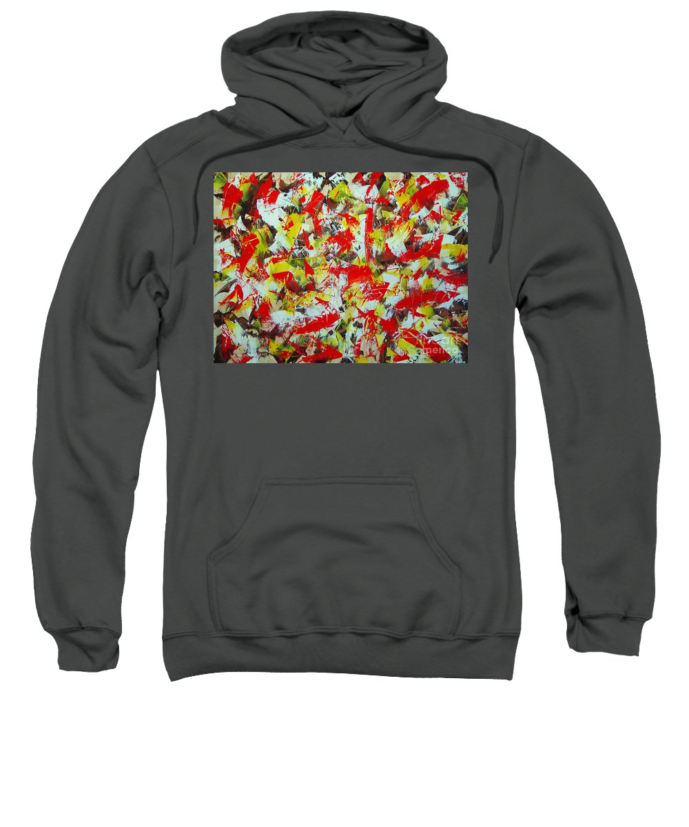 Abstract Sweatshirt featuring the painting Transitions With Yellow Brown And Red by Dean Triolo