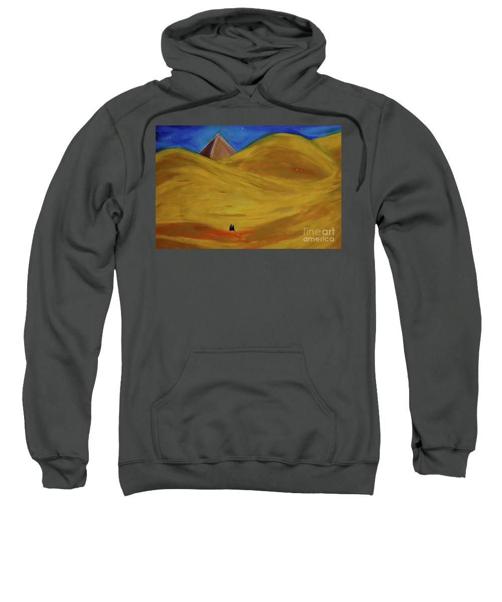 Pyramid Sweatshirt featuring the drawing Travelers Desert by First Star Art