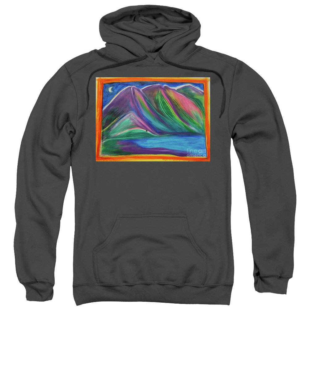 Landscape Sweatshirt featuring the painting Travelers Mountains By Jrr by First Star Art