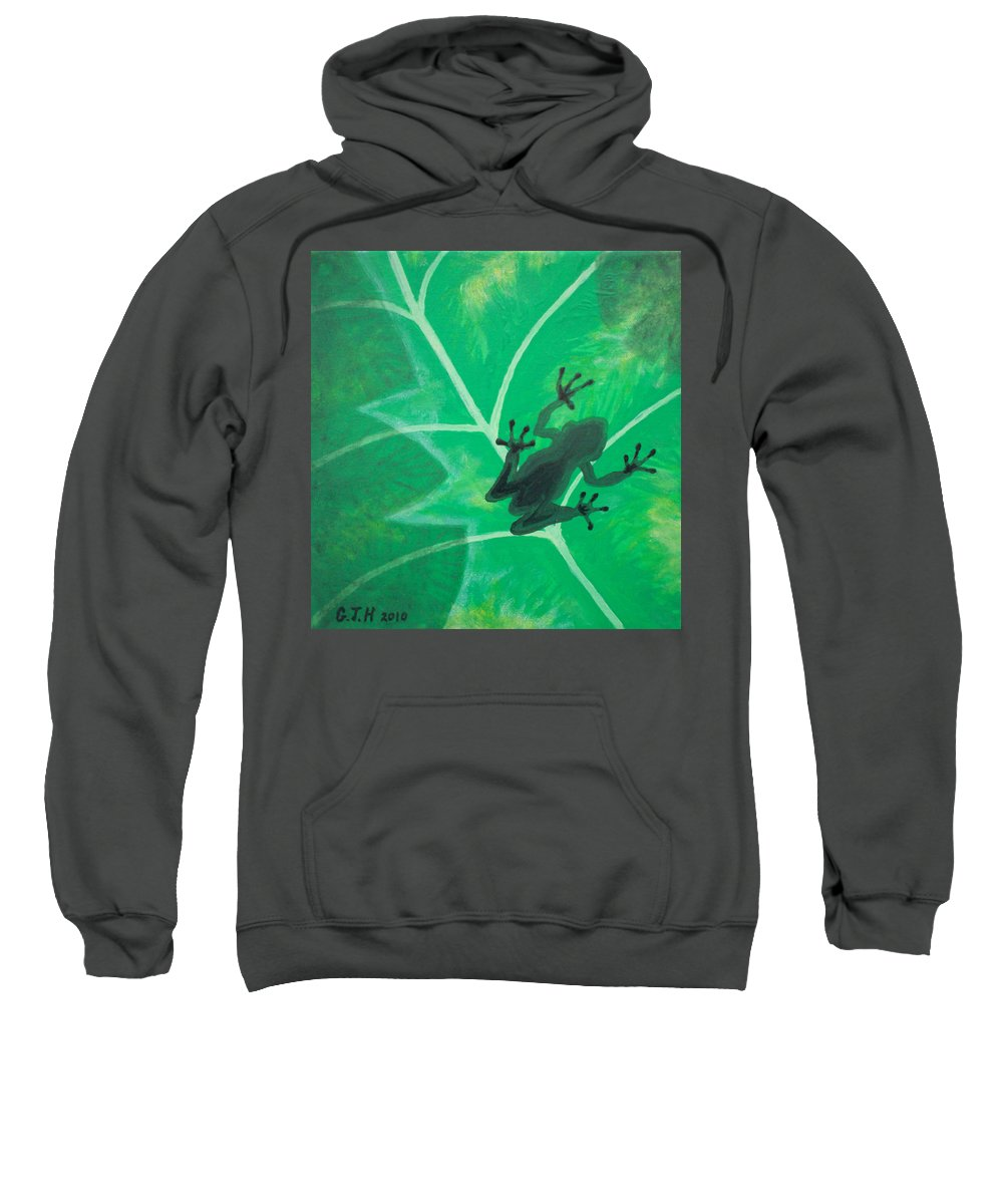 Tree Frog Sweatshirt featuring the painting Tree Frog by Gary Hogben