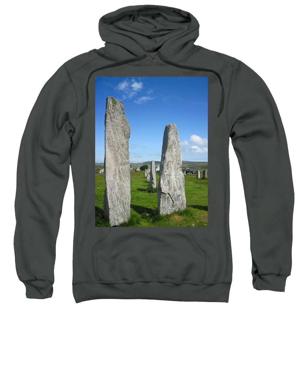 Callanish Inner Circle Sweatshirt featuring the photograph Triangular Callanish Stone by Denise Mazzocco