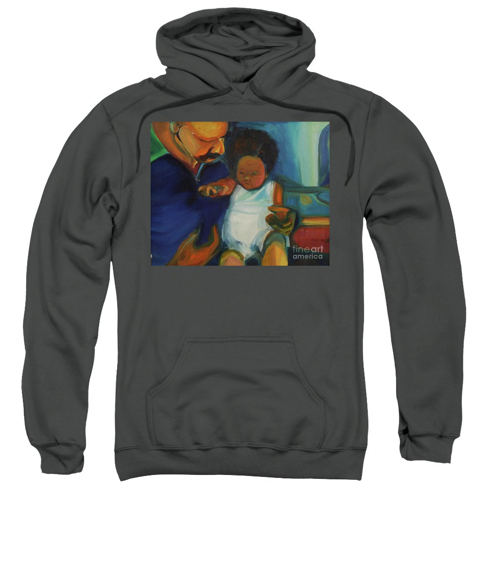 Oil Painting Sweatshirt featuring the painting Trina Baby by Daun Soden-Greene