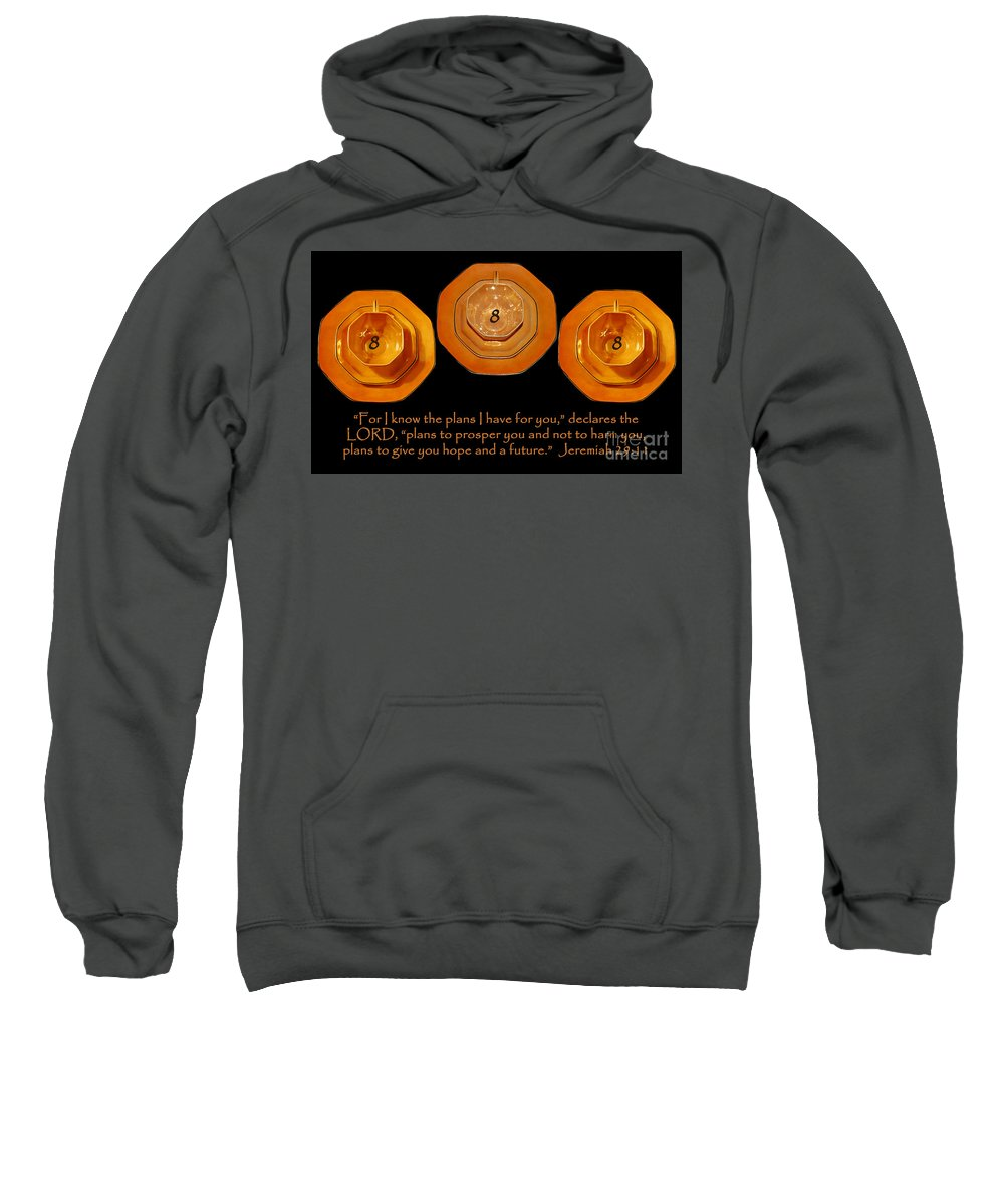 Master Numbers Sweatshirt featuring the photograph Triple Eight Octagon Saucers With Jeremiah Twenty Nine Eleven On Black by Heather Kirk