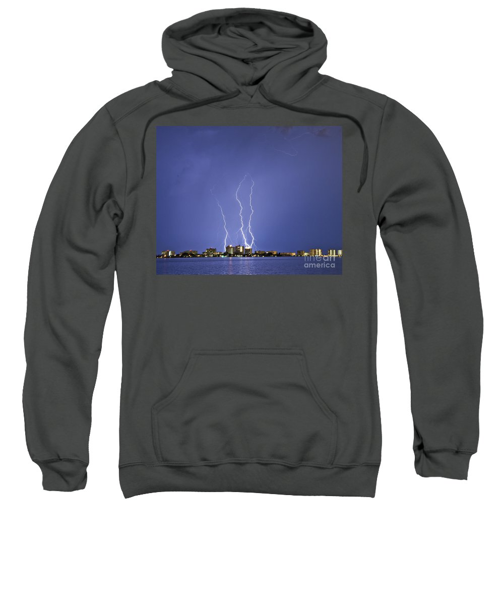 Bolts Sweatshirt featuring the photograph Triple Terror by Stephen Whalen