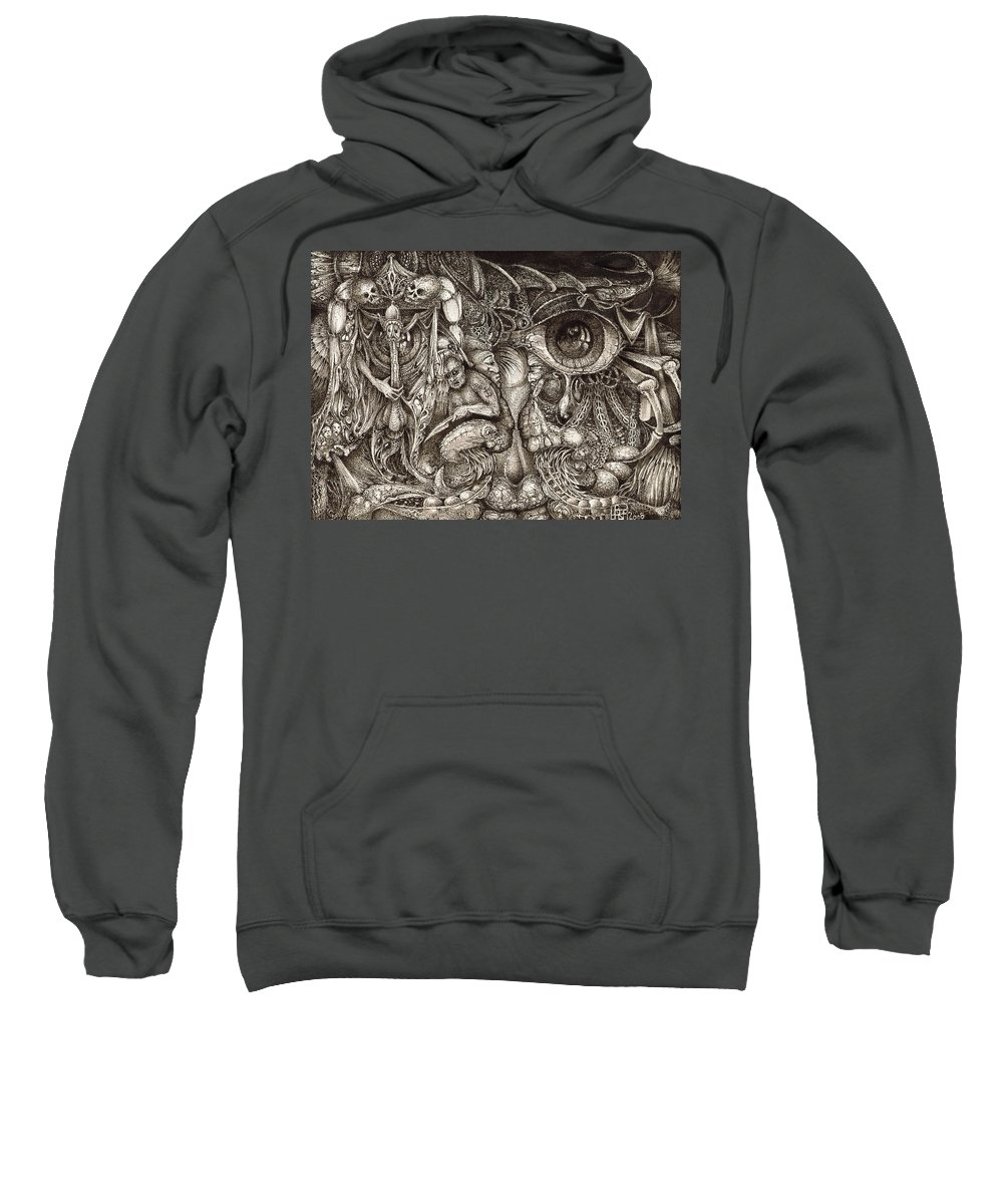 Surreal Sweatshirt featuring the drawing Tripping Through Bogomils Mind by Otto Rapp