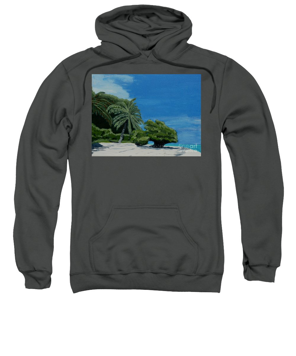 Beach Sweatshirt featuring the painting Tropical Beach by Anthony Dunphy