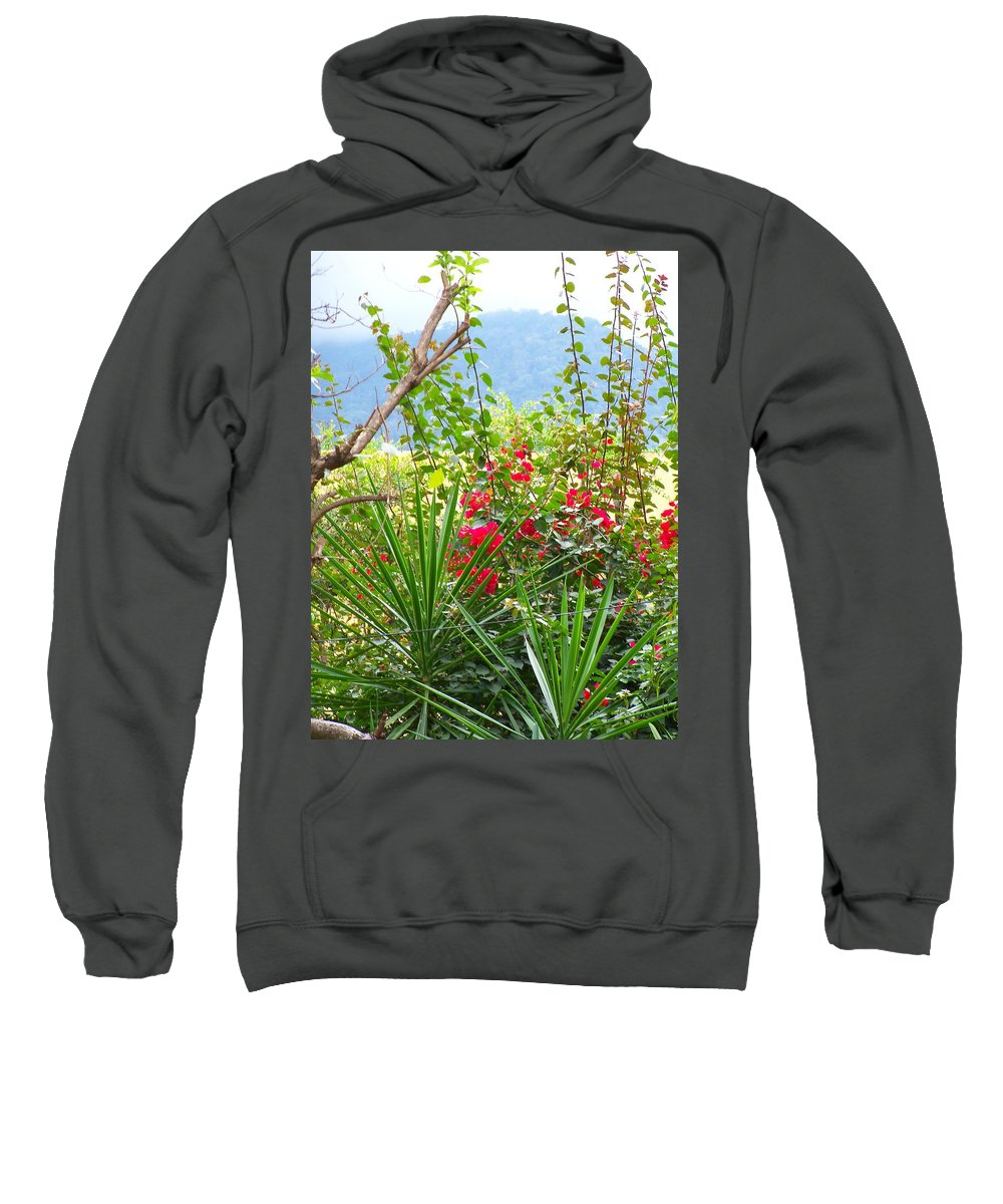 Tropical Colors Sweatshirt featuring the photograph Tropical Red Against Cool Mountain Mists by Pamela Smale Williams