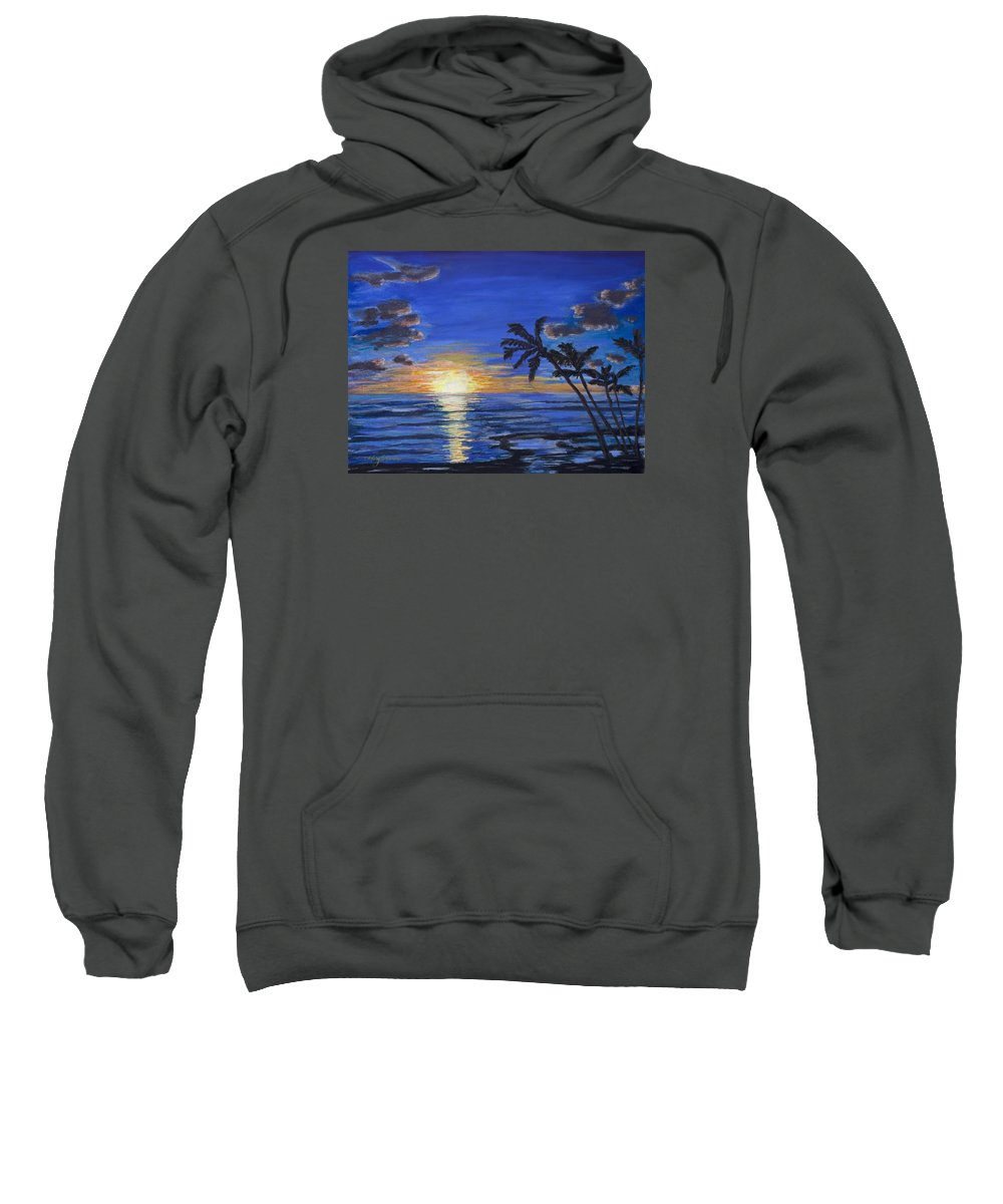 Beach Sweatshirt featuring the painting Tropical Sunset by Mary Benke
