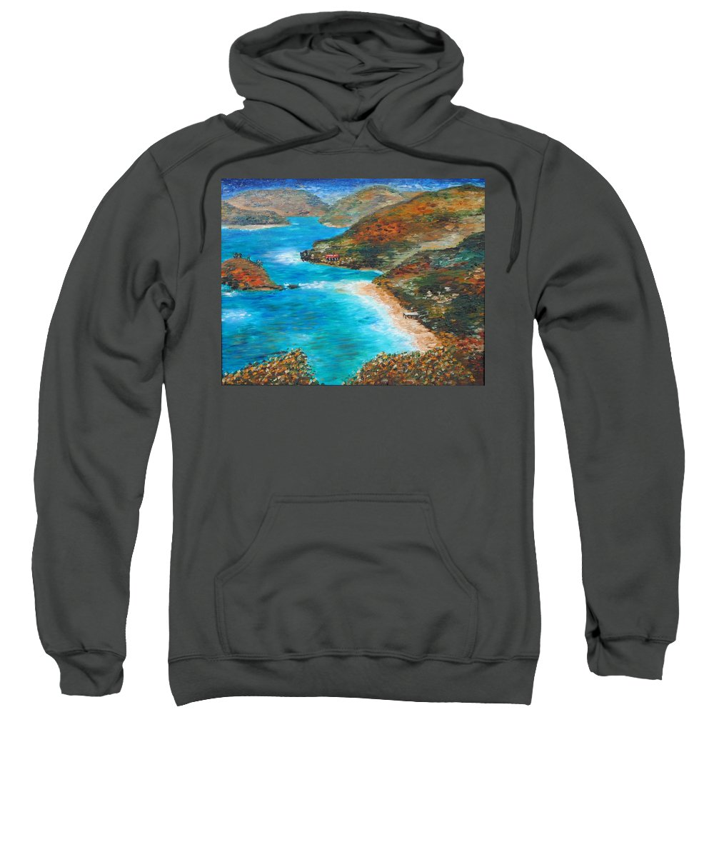 St John Sweatshirt featuring the painting Trunk Bay by Joe Christenson