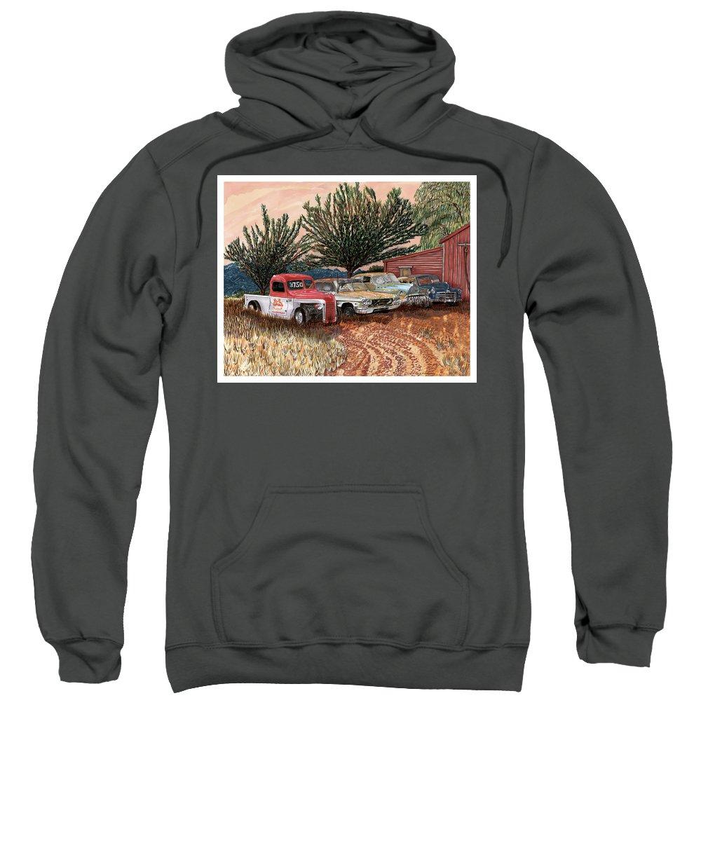 Classic Car Art Sweatshirt featuring the painting Tularosa Motors by Jack Pumphrey