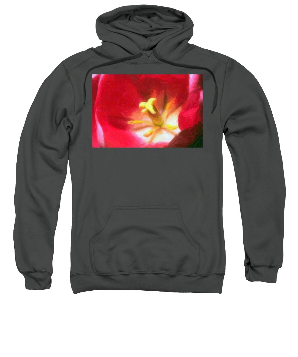Flower Sweatshirt featuring the painting Tulip by Sergey Bezhinets