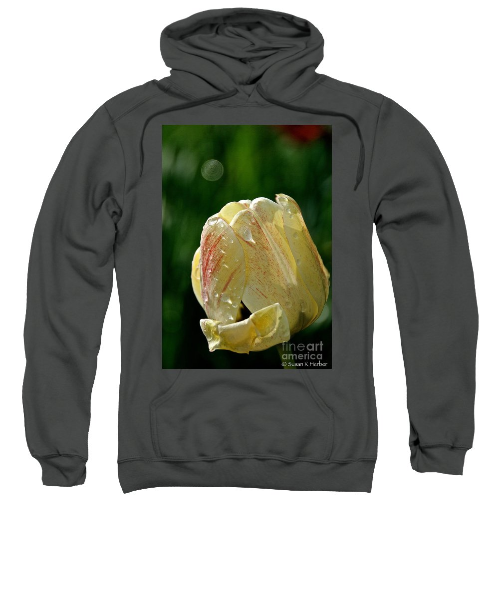 Flower Sweatshirt featuring the photograph Tulip Teardrops by Susan Herber