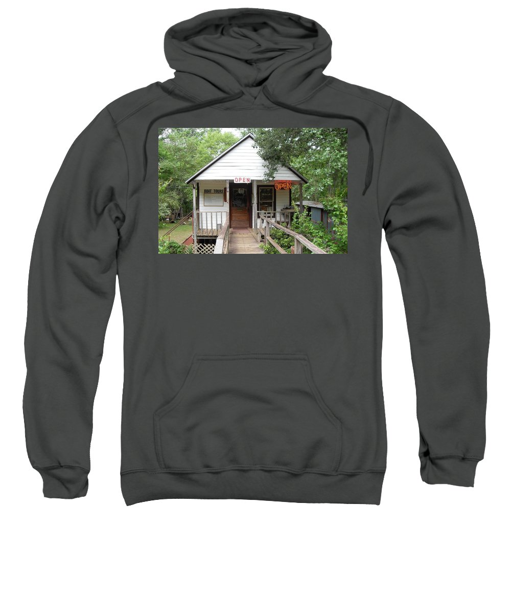 River Boat Tours Sweatshirt featuring the photograph Turning Basin Bayou Tours Jefferson Texas by Donna Wilson