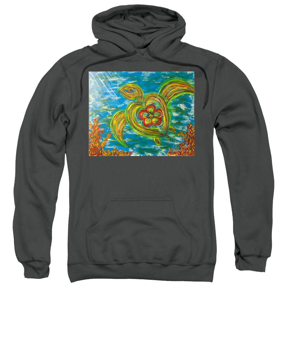 Seaturtle Sweatshirt featuring the painting Turtle Love by Susan Cliett