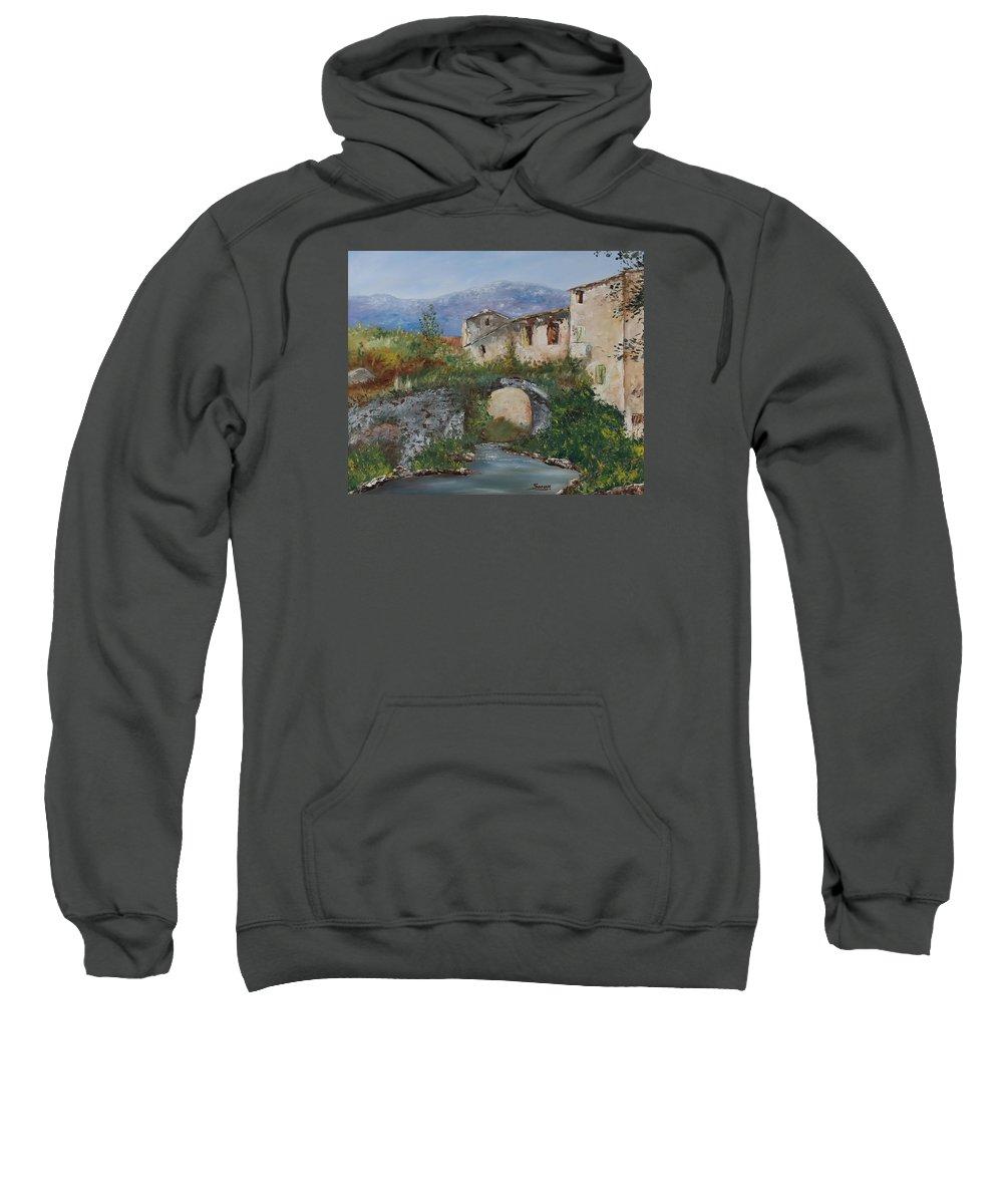 Tuscany Sweatshirt featuring the painting Tuscan Bridge by Andrew Sanan