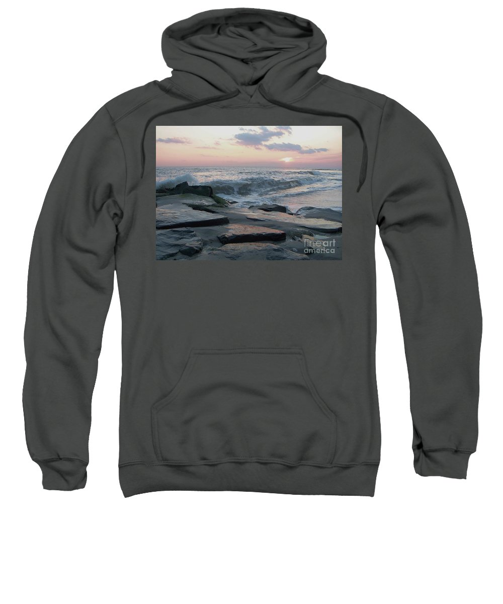 Twilight Sweatshirt featuring the photograph Twilight At Cape May In October by Eric Schiabor