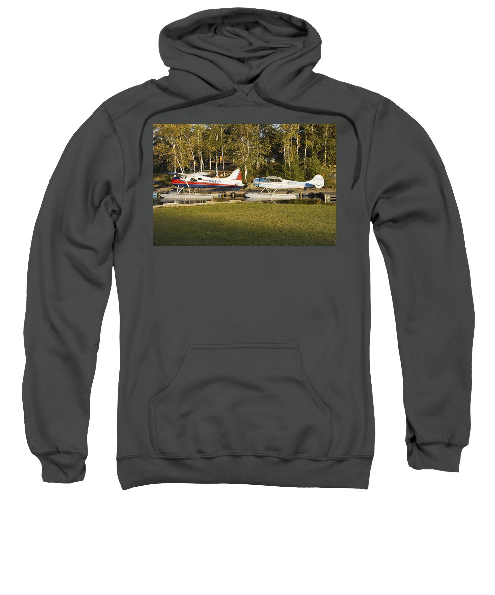 Airplane Sweatshirt featuring the photograph Two Float Planes On Moosehead Lake Near Greenville Maine by Keith Webber Jr