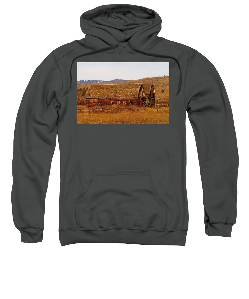 Barns Sweatshirt featuring the photograph Two Old Barns Near Thorp Wa by Jeff Swan