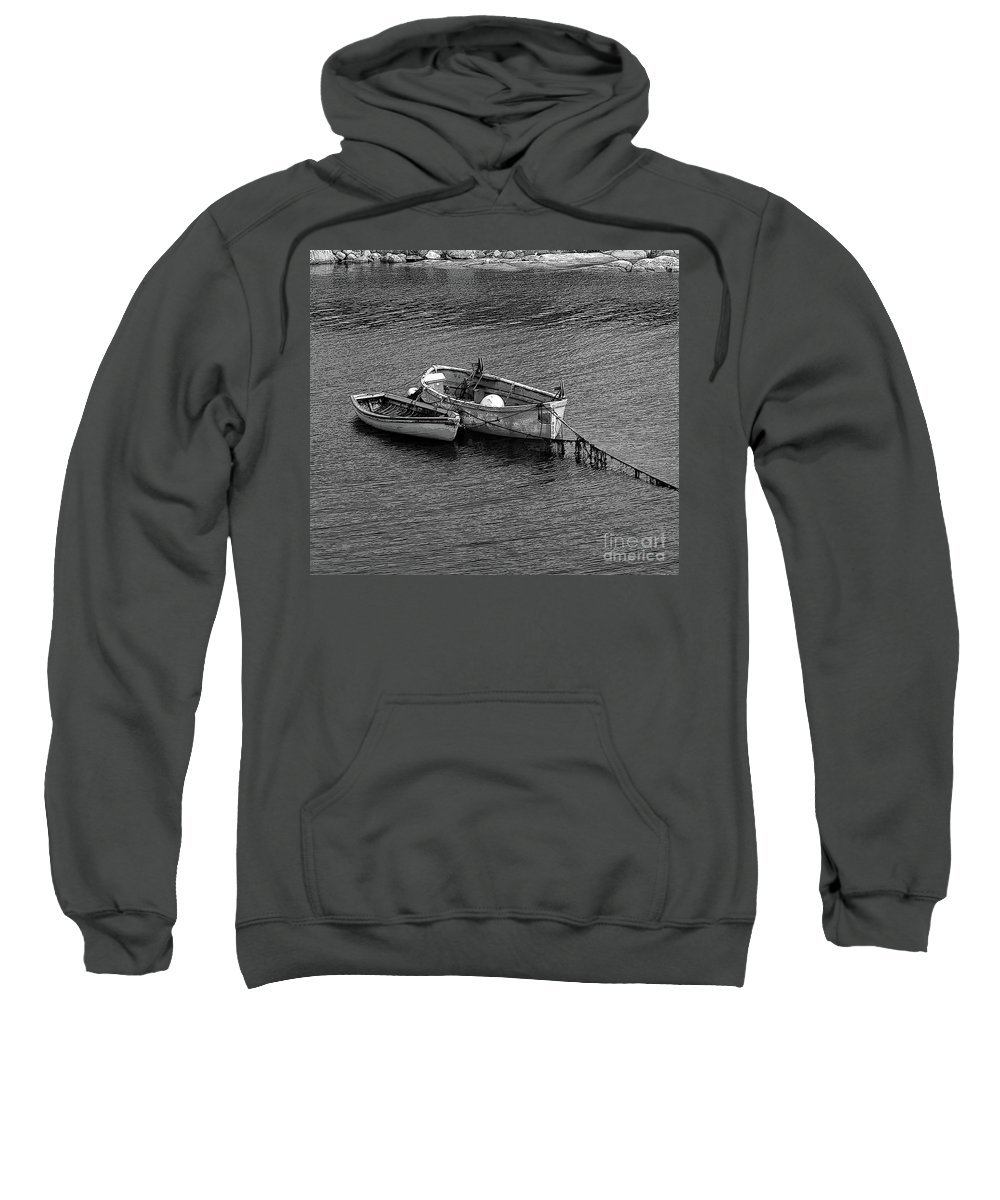 #rowboat #water Sweatshirt featuring the photograph Two Old Rowboats by Kathleen Struckle