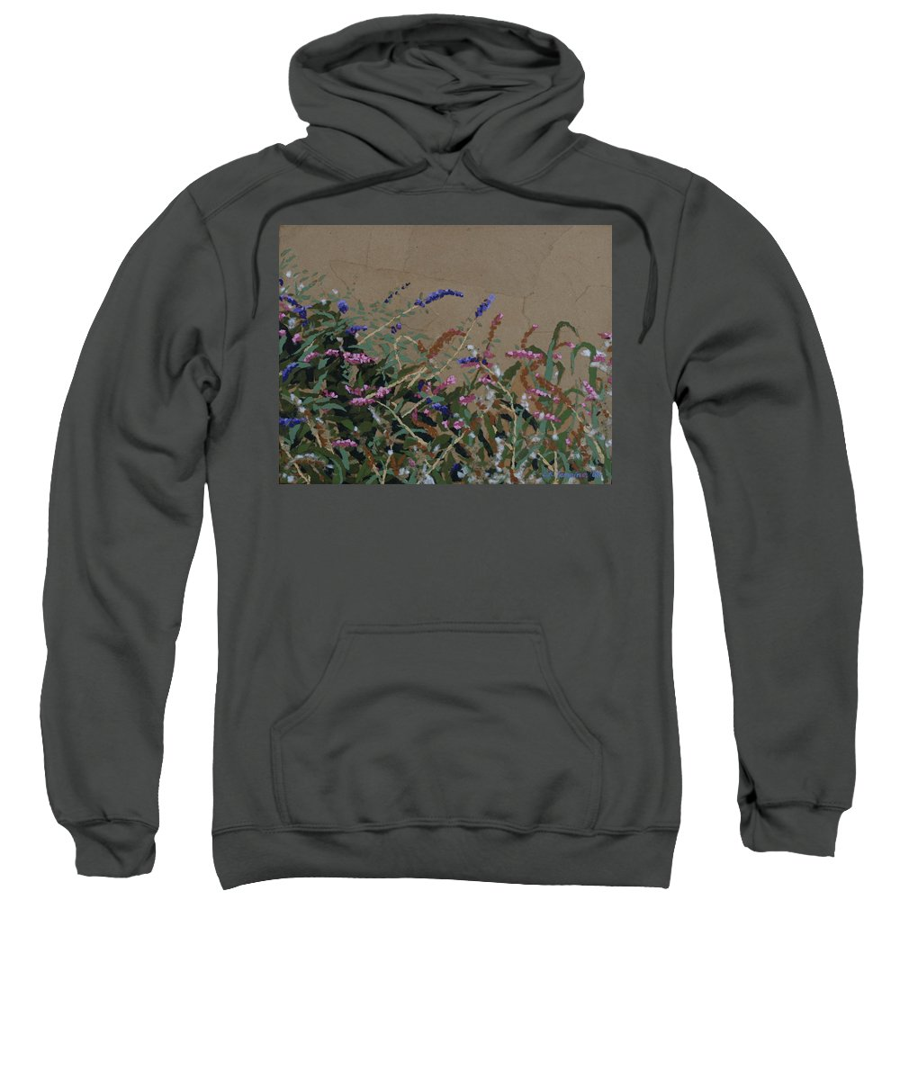 Flowering Butterfly Bush Sweatshirt featuring the painting Tyler by Leah Tomaino
