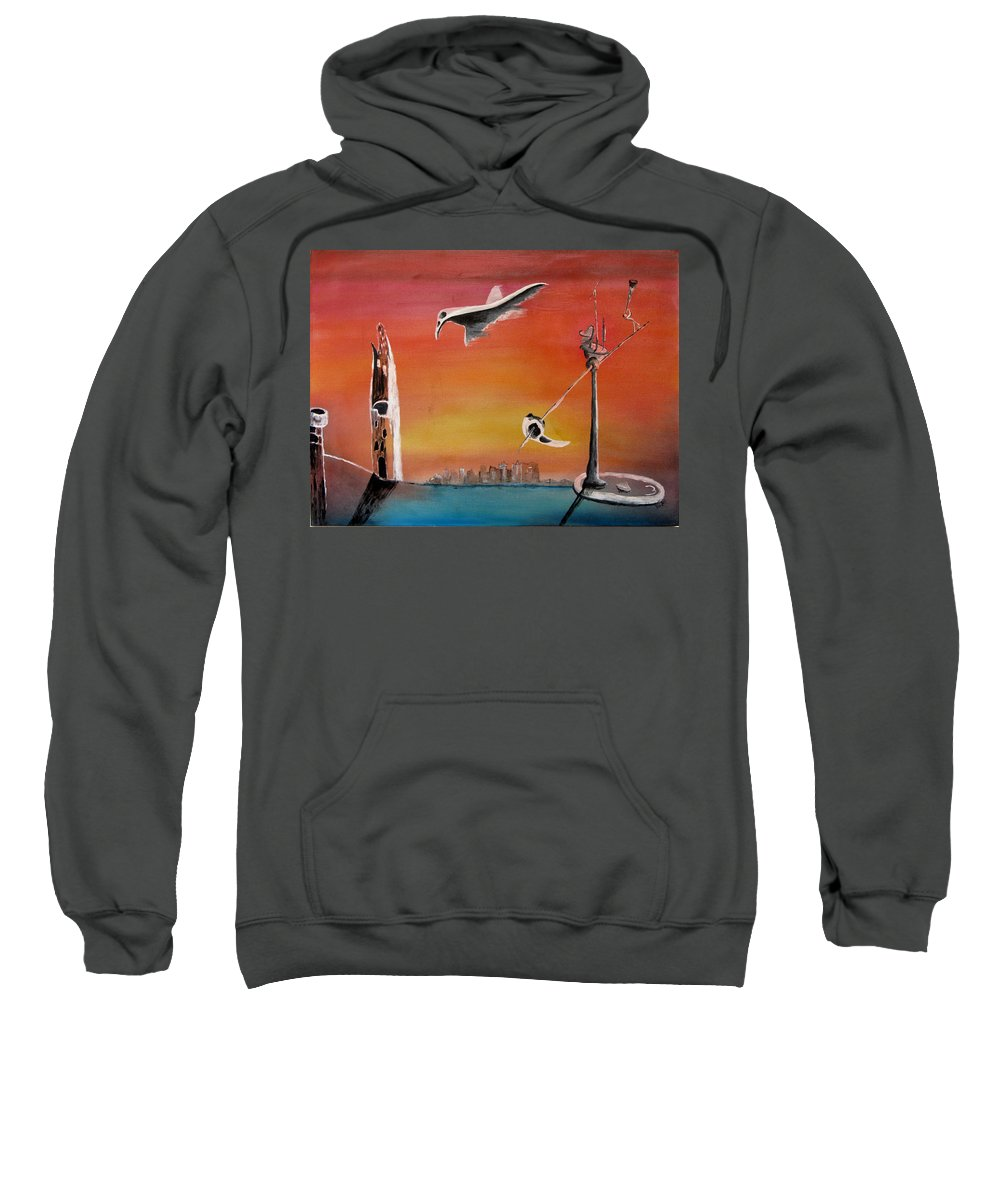 Uglydream Sweatshirt featuring the painting Uglydream911 by Helmut Rottler