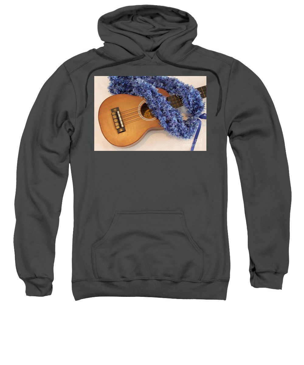 Hawaiian Lei Sweatshirt featuring the photograph Ukulele And Blue Ribbon Lei by Mary Deal