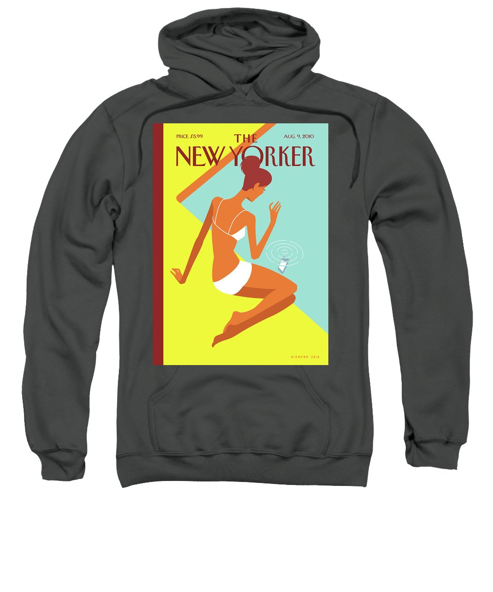 Pool Sweatshirt featuring the painting New Yorker August 9th, 2010 by Christoph Niemann