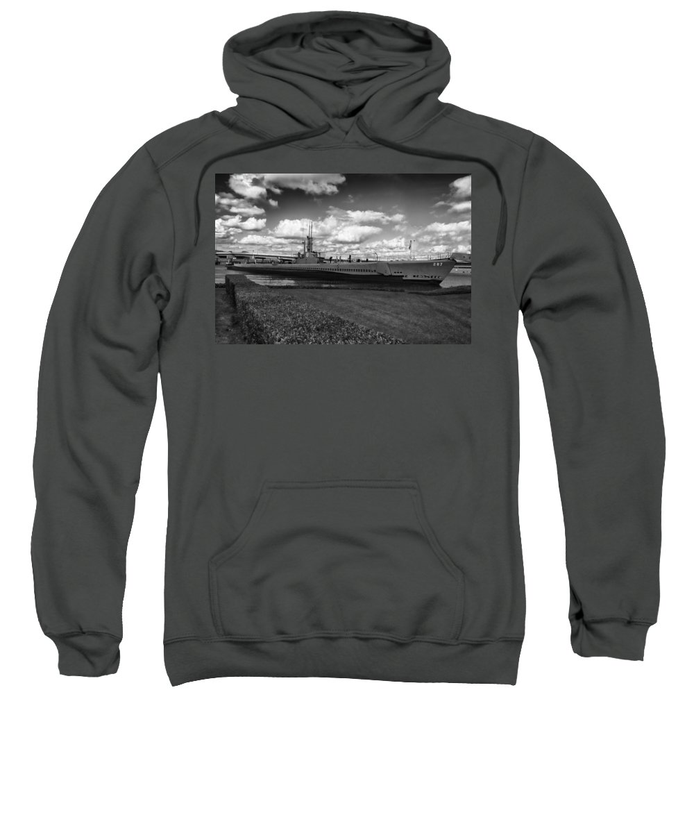 Uss Bowfin Sweatshirt featuring the photograph Uss Bowfin-black And White by Douglas Barnard