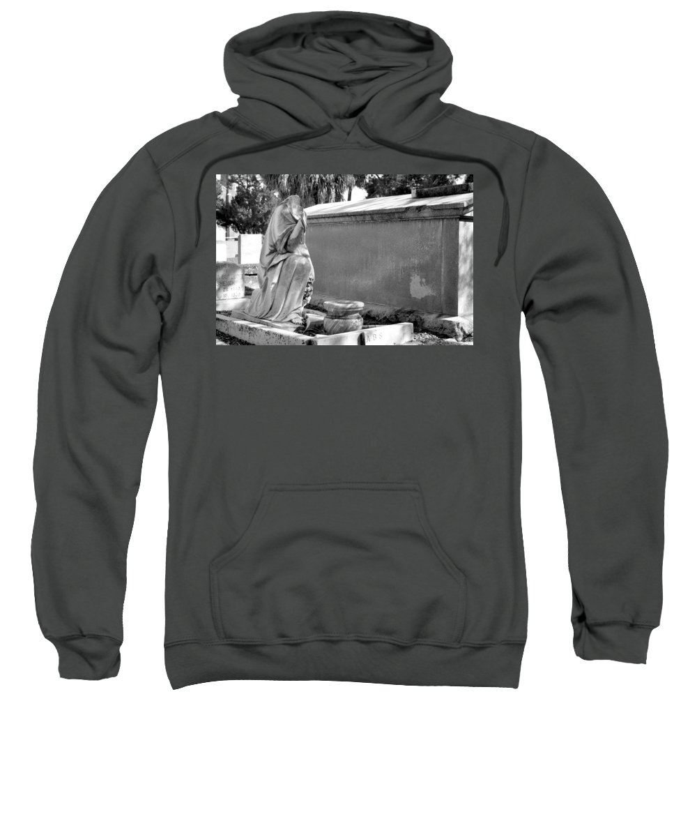 Oaklawn Sweatshirt featuring the photograph Valeria Butzloff Statue Black And White by Sally Rockefeller
