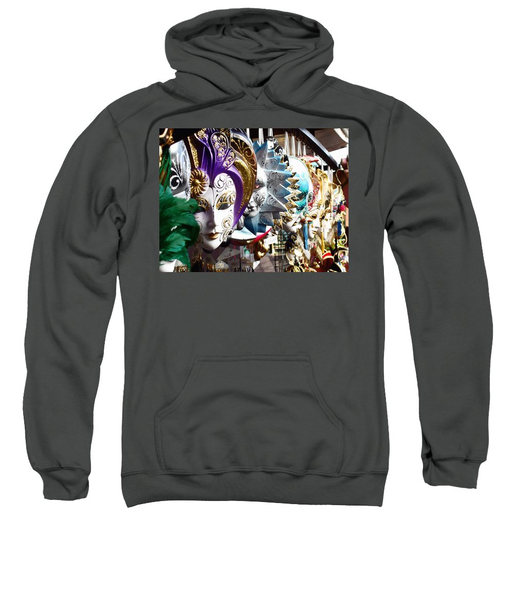 Venetian Masks Sweatshirt featuring the photograph Venetian Masks 1 by Ellen Henneke