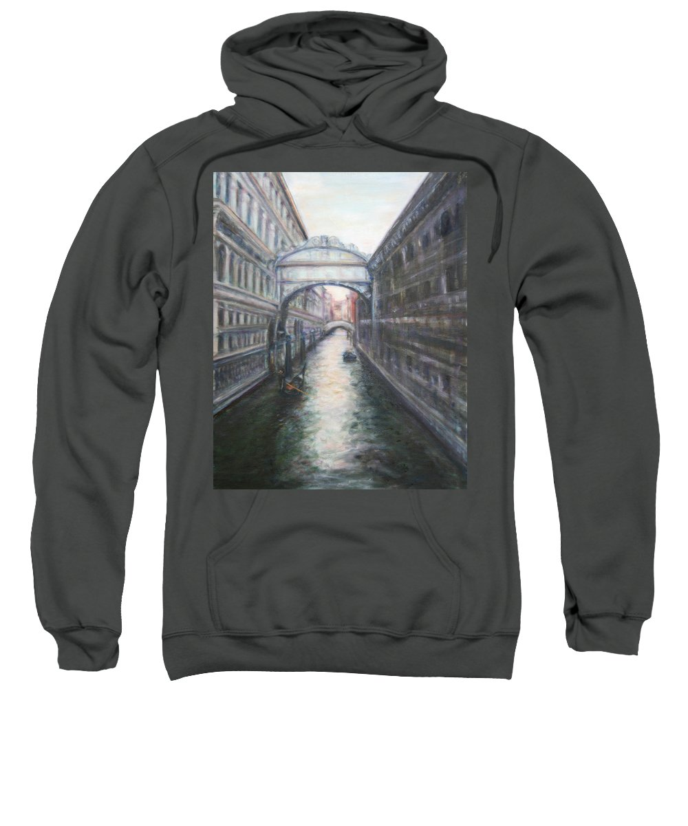 Boat Sweatshirt featuring the painting Venice Bridge Of Sighs - Original Oil Painting by Quin Sweetman