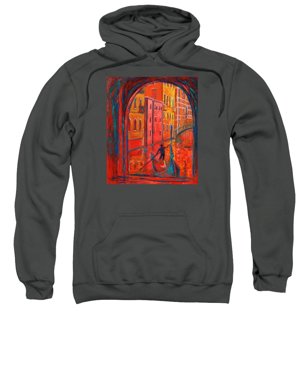 Landscape Sweatshirt featuring the painting Venice Impression VIII by Xueling Zou