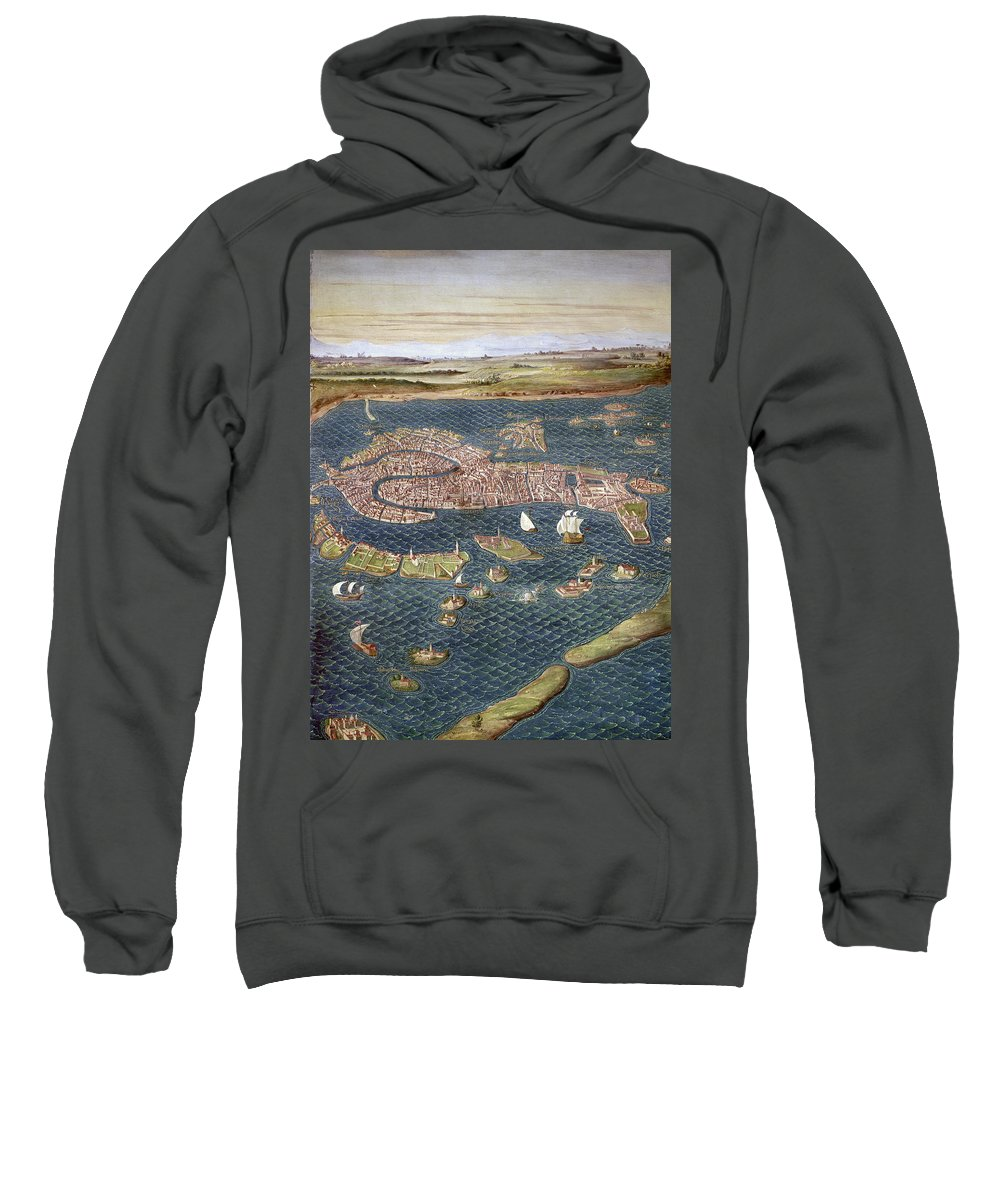 16th Century Sweatshirt featuring the photograph Venice: Map, 16th Century by Granger