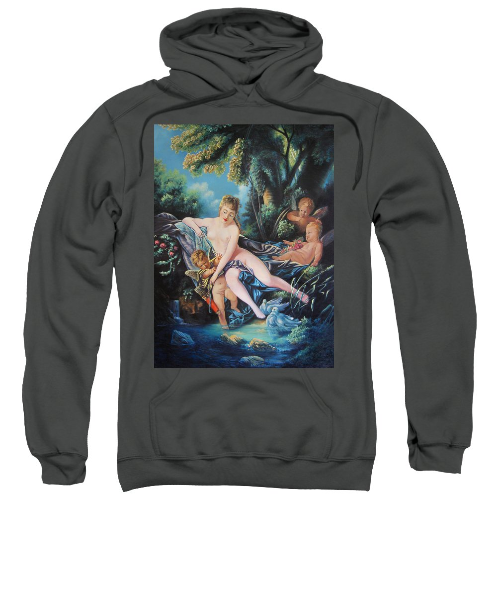 Cupid Sweatshirt featuring the painting Venus Disarming Cupid by Matthew Pinkey