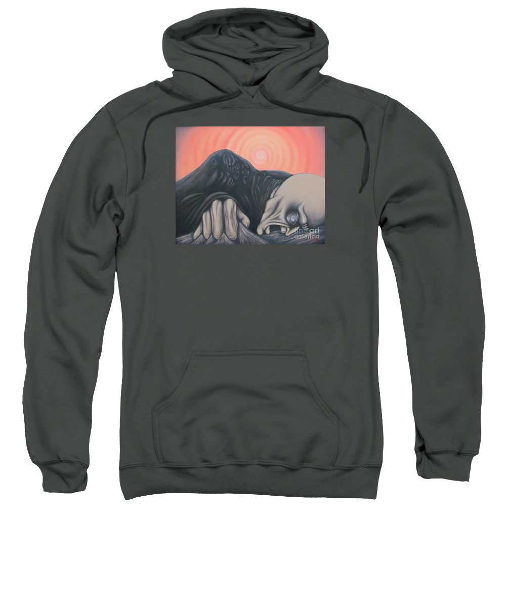 Tmad Sweatshirt featuring the painting Vertigo by Michael TMAD Finney