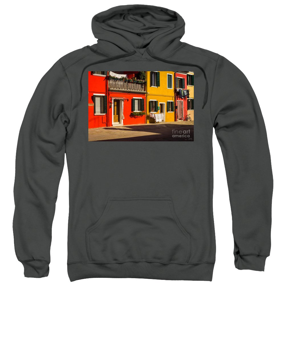 Vibrant Burano Sweatshirt featuring the photograph Vibrant Burano by Prints of Italy
