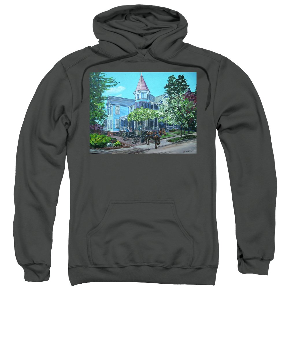 Victorian Sweatshirt featuring the painting Victorian Greenville by Bryan Bustard