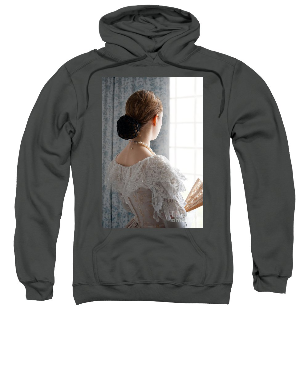 Victorian Sweatshirt featuring the photograph Victorian Woman At The Window by Lee Avison