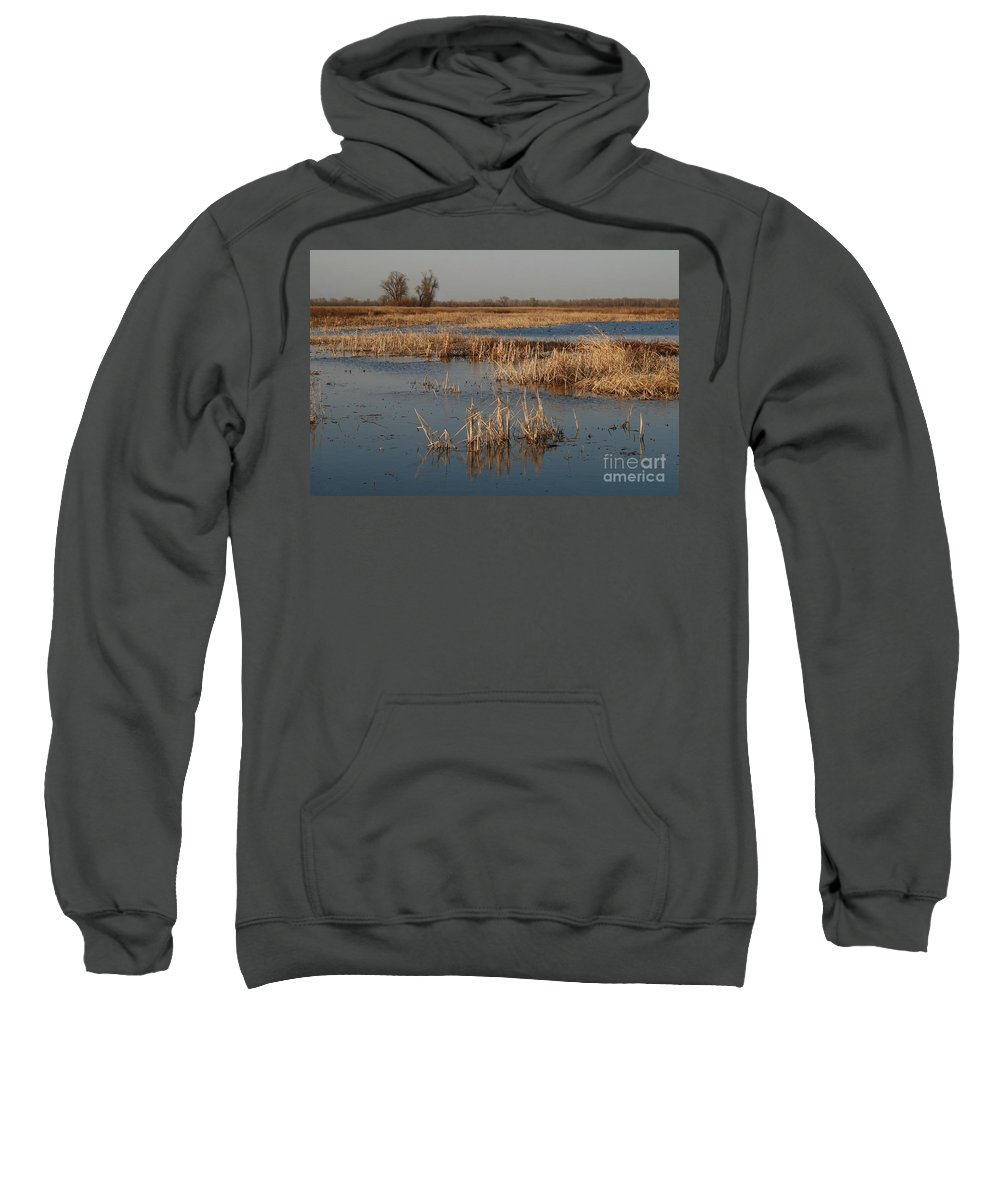 Wet Lands Sweatshirt featuring the photograph View From The Duck Blind by Garry McMichael