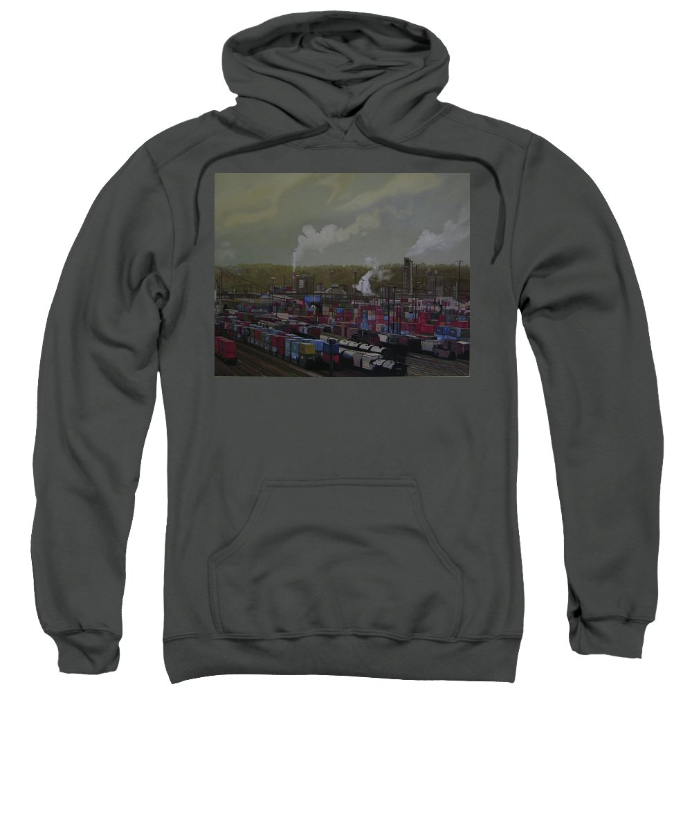 Industrial Landscape Sweatshirt featuring the painting View From Viaduct by Thu Nguyen