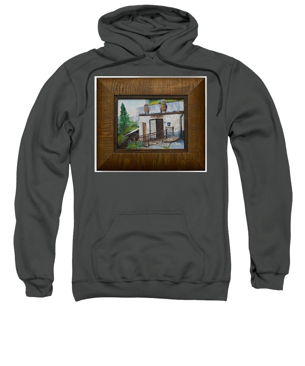 Tuscan Terrain Sweatshirt featuring the mixed media Villa In Tuscany by Kathy Knopp
