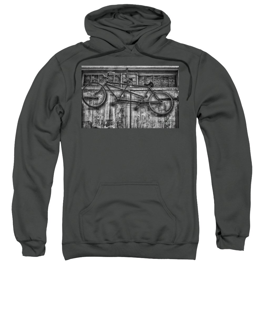 Bicycle Sweatshirt featuring the photograph Vintage Bicycle Built For Two In Black And White by Kathleen K Parker