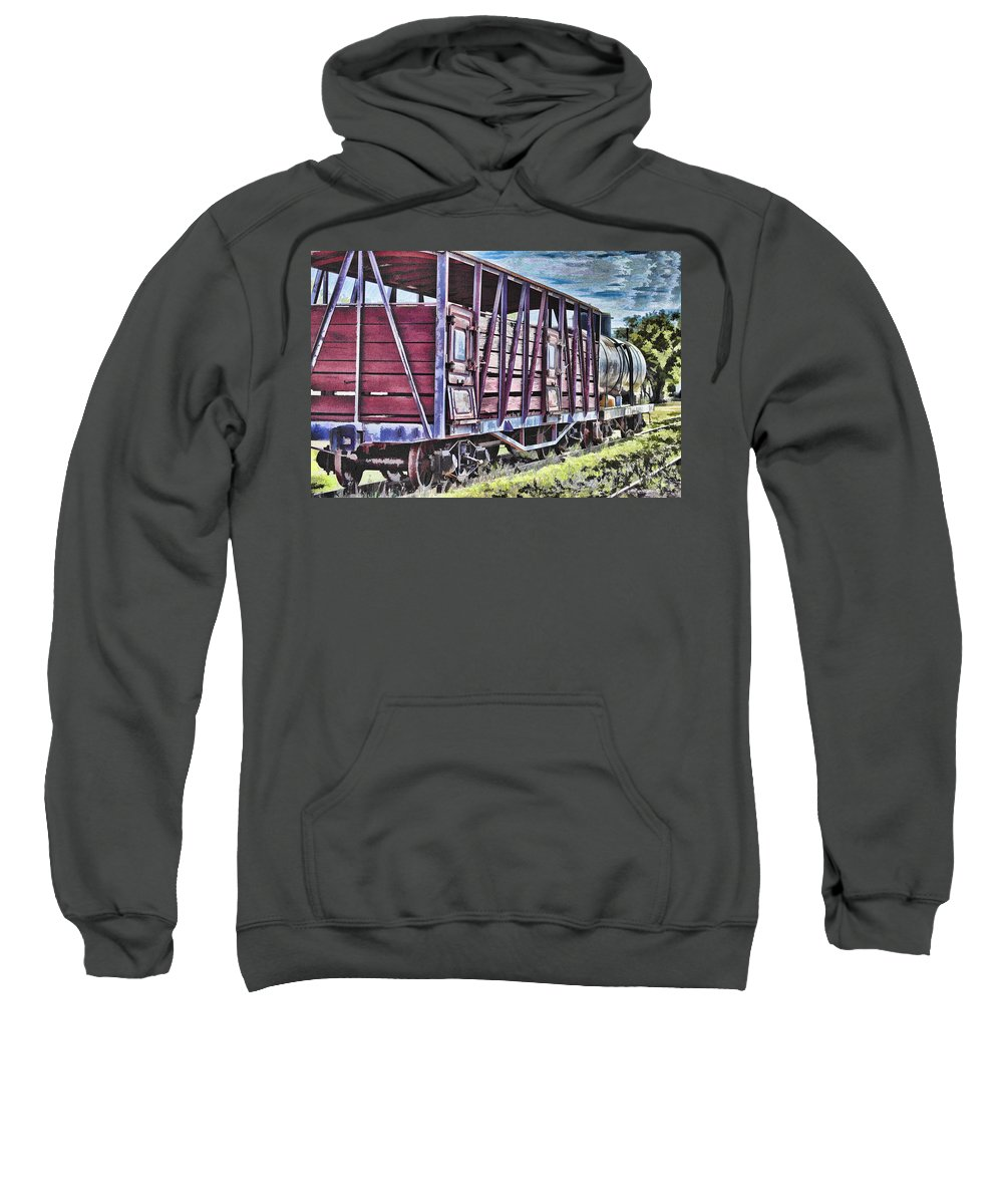 Steam Sweatshirt featuring the photograph Vintage Steam Locomotive Carriages by Douglas Barnard