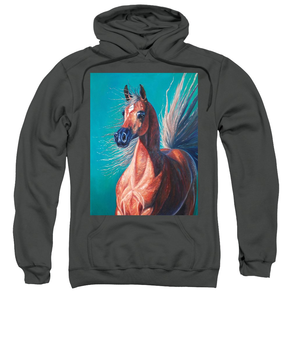 Horse Sweatshirt featuring the painting Viridian by Gill Bustamante