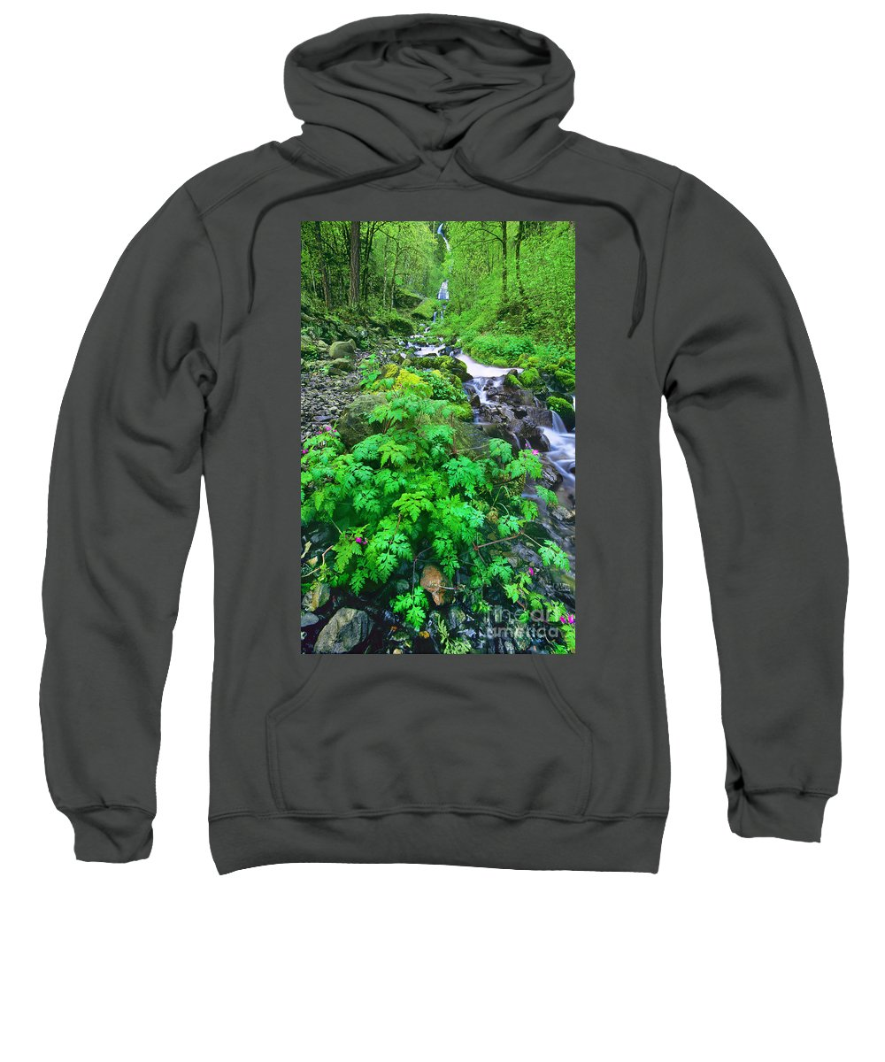 North America Sweatshirt featuring the photograph Wahkeena Falls In The Columbia River Gorge by Dave Welling