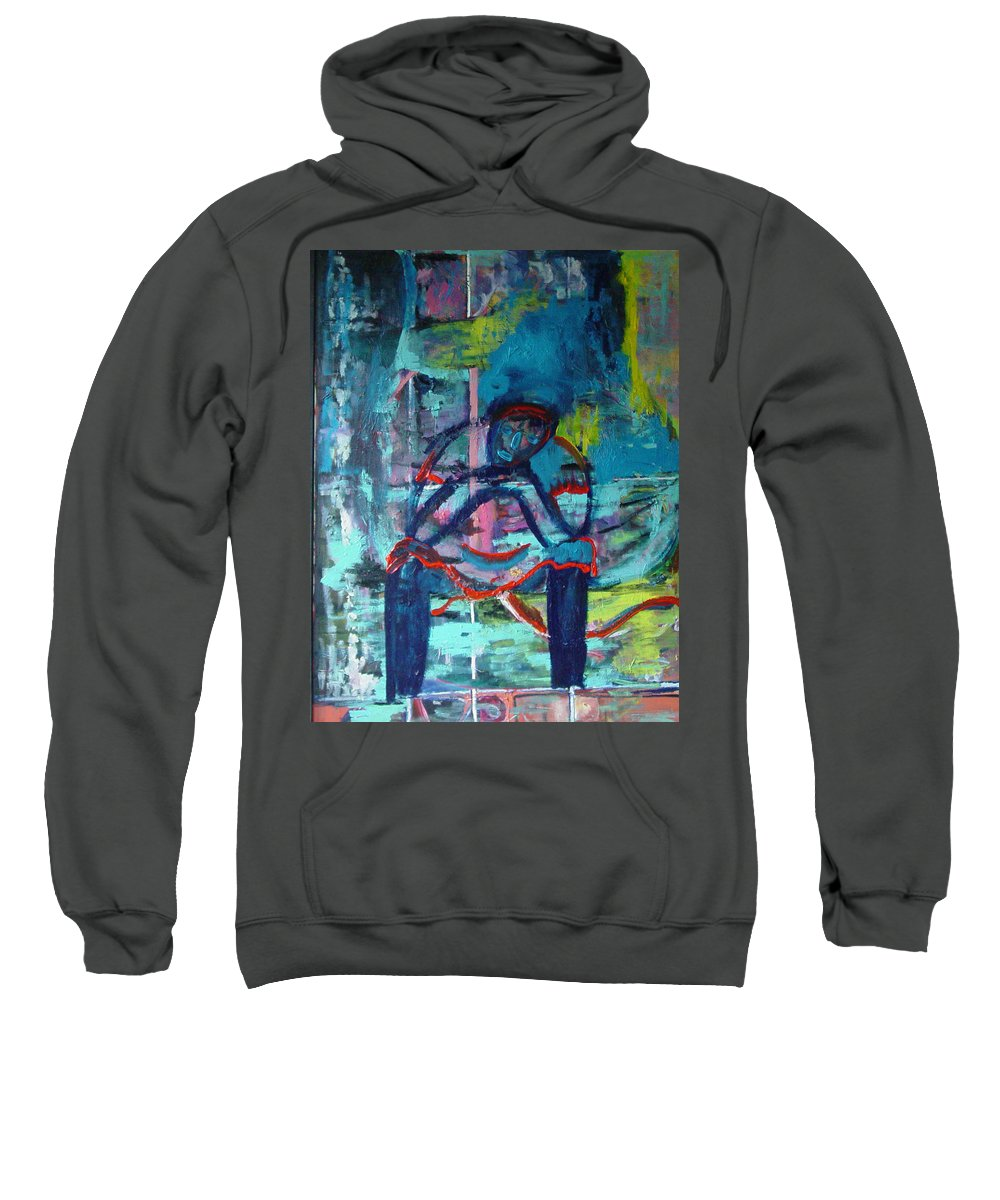 Woman On Bench Sweatshirt featuring the painting Waiting by Peggy Blood