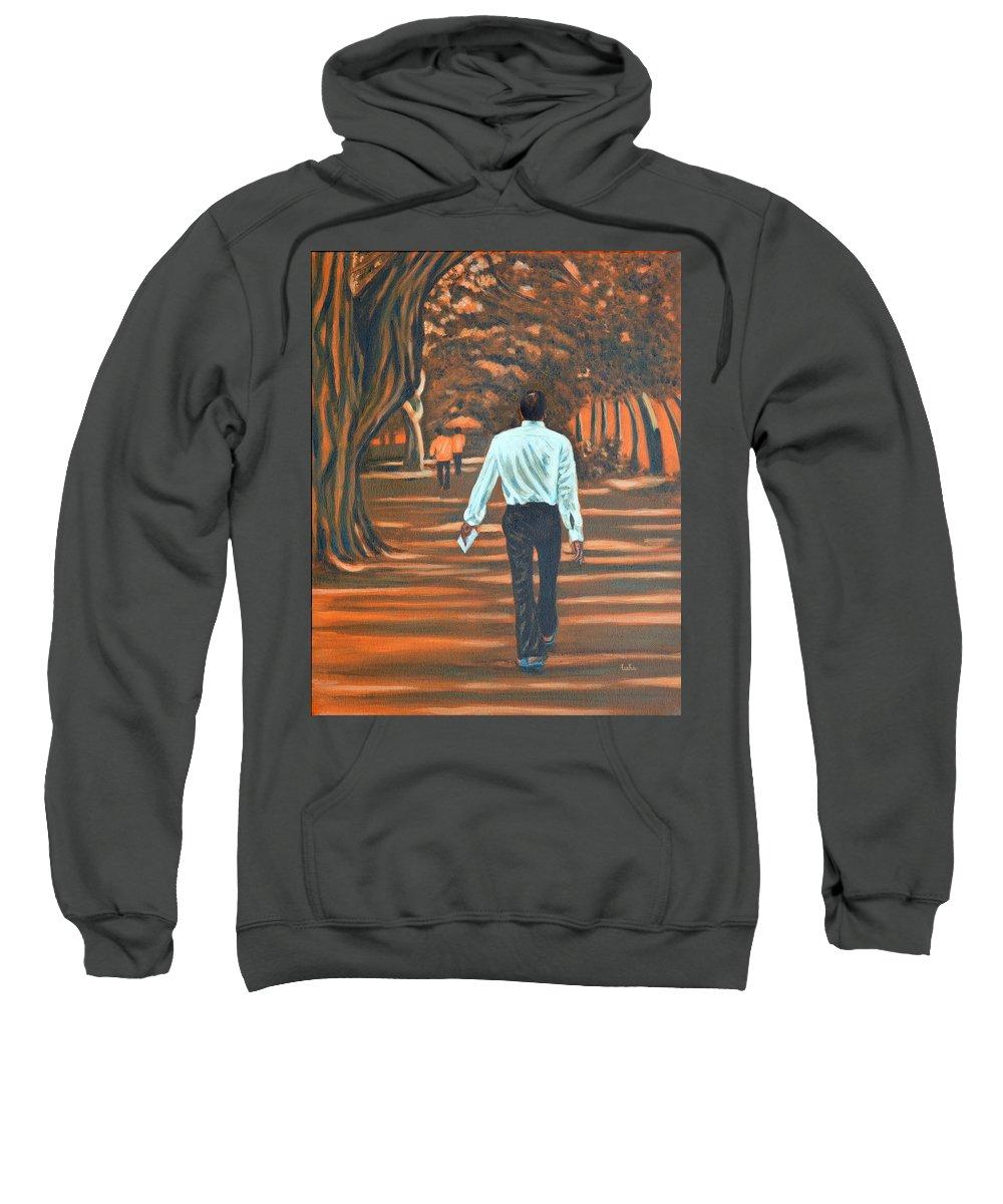 Usha Sweatshirt featuring the painting Walk In The Woods by Usha Shantharam