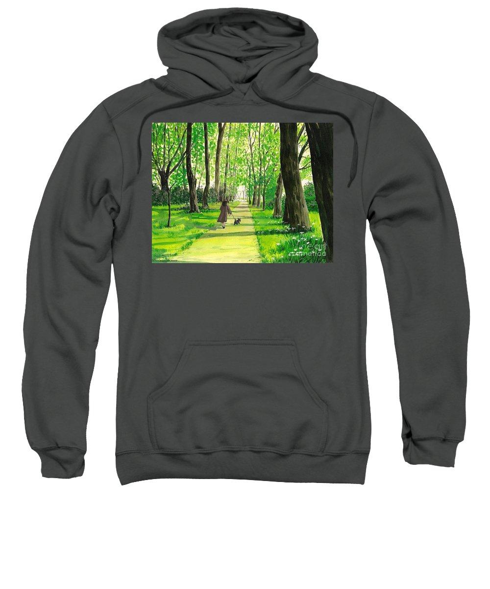 Print Sweatshirt featuring the painting Walking The Scottie by Margaryta Yermolayeva